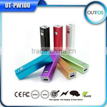 Power pack 2600mah portable power bank classic lipstick battery charger for iPhone Samsung HTC