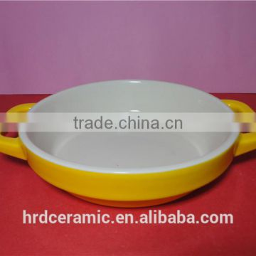 Microwave safe yellow porcelain rplain bakeware with handle