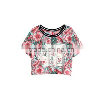2015 Hot sale fashion ladies short sleeves flower print 100%cotton T-shirt