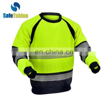 Hot sale autumn long sleeve pullover oversized fluorescent strips