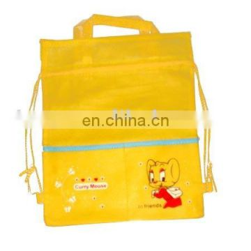 HOT SALE! Cheap promotion non woven drawstring bag(with handle)