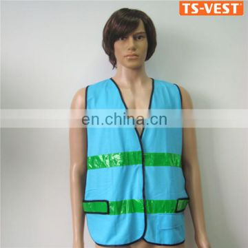 Logo Customized PVC Strap Car Blue Reflective Vest
