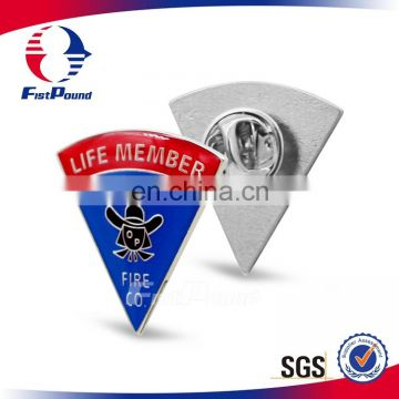 Metal triangle Lapel pin with Soft enamel