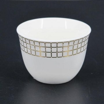 Wholesale 12 pcs ceramics 80cc good sale arabic cawa cup coffee cup with golden deisgn