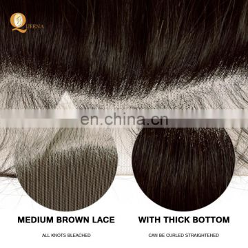 Queena Lace Band Frontal Closure Kinky Straight 13*4 Lace Frontal Hair With Natural Baby Hair wholesale alibaba