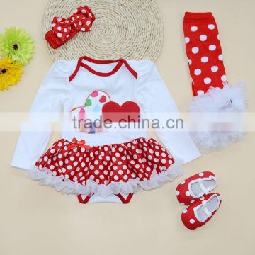 2015 baby long sleeve clothes baby rompers tutu dress +head band +legwarmers and shoes girls christmas clothing sets SK-17