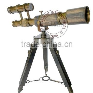 LEATHER MOUNTED BRASS DOUBLE BARREL TELESCOPE WITH BRASS STAND IN ANTIQUE STYLE