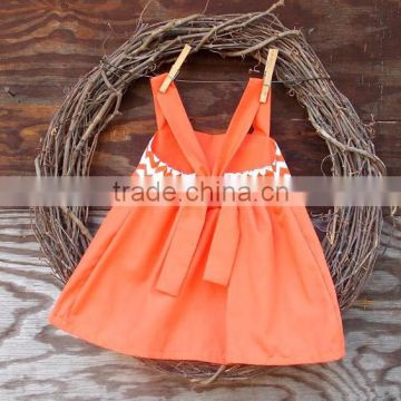 (CS834#orange&grey)Lovely cheveron design for 2pc outfit woven cotton baby girl dress and ruffled short pants