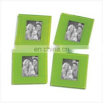 Green Glass Photo Frame Coasters