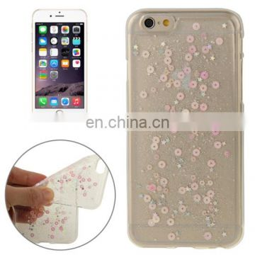 Transparent Star Sequins Flash Powder Series TPU Protective Case for iPhone 6(Pink)