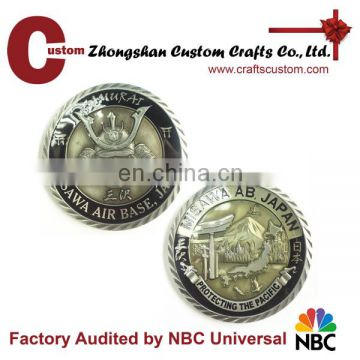 Custom antique silver Japan Knight old challenge coin
