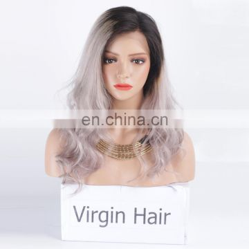 Grey human hair wigs ombre color preplucked lace wig human hair