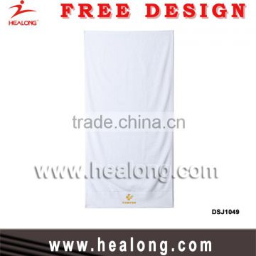 2016 New Blank Wholesale 100% Cotton Soft white Custom Embroidery Logo Hotel Beach Sport Bath Towel