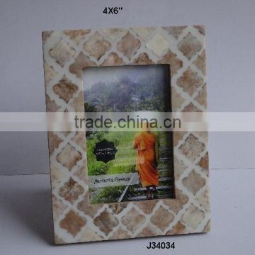 Bone photo Frame with mosaic of bone brown colour and curving work