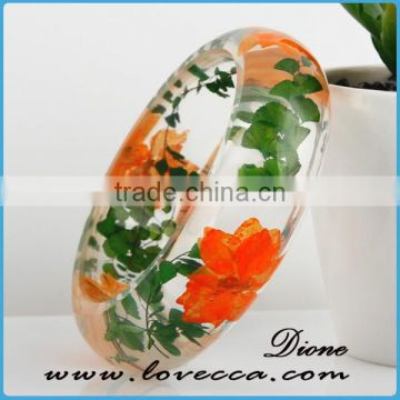 Clear real dried pressed flower resin jewelry bangles