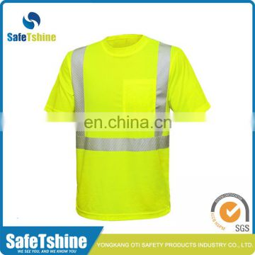 Hi vis good quality safety reflective yellow sports t-shirt