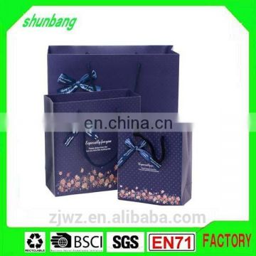 2015 lamination purple color papers bag with bowkont