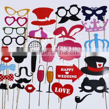 STOCK for Wedding, Birthday, Party - Fun Accessories Glass Cap Moustache Lips Bow Ties, Pack of 31Wisehands Photo Booth Props