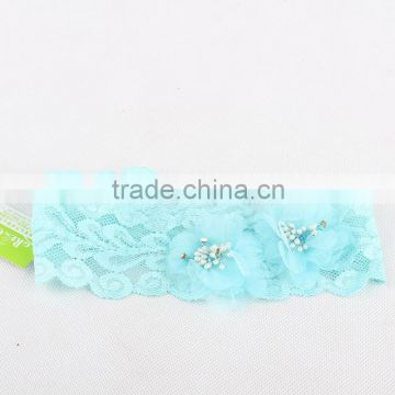 Children Hair Accessories Girl Headbands Blue Lace Baby Hair Bands
