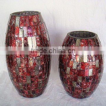 2017 New red mosaic glass vase in serie