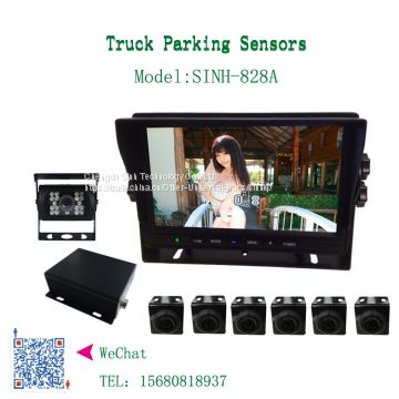 SINH-828A  Truck/bus/car parking sensor system with HD camera, 7inch LCD monitor,0.4-5m sensor detection