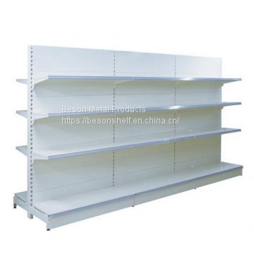 Double sided supermarket shelves with flat back