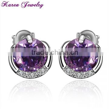 New Amethyst Purple Zircon Crystal Stud Earrings for Women Platinum Plated Gold Earring Stud Earring