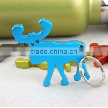 Wholesale cheap Aluminum alloy animal deer beer bottle opener keychain with customzied logo