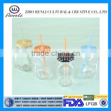 Round Clear Glass Mason Jar With handle and tinplate lids in stock