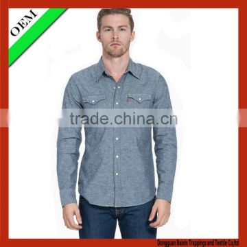 2015 high quality Jean Shirt With long Sleeve OEM