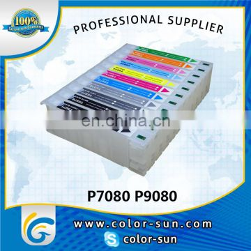 Best selling empty large format refillable ink cartridge with reset chip for epson sure color P7080 P9080 printer