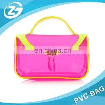 Manufacture Custom Shaped Fashionable Cheap Waterproof Transparent Brand Handle Bulk Multifunction PVC Zipper Makeup Bag