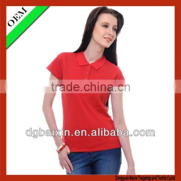 Women's simple red polo shirt,provided by china supplier