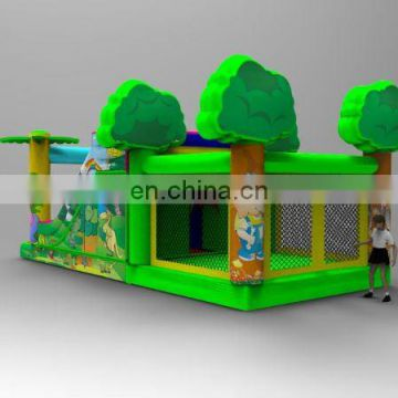 Newly Designed jungle themed inflatable bouncer & slide