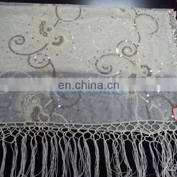 polyster mesh sequin scarf embroidery fabric