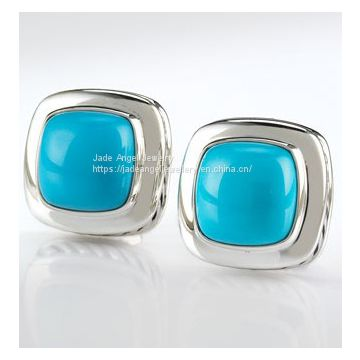 Designs Inspired DY Sterling Silver 11mm Turquoise Albion Earrings
