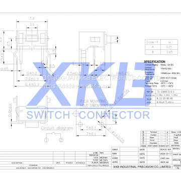 Pin Type 7.3x4.3 Side Operation With Bracket, Strength Can Be Customized Tact Switch
