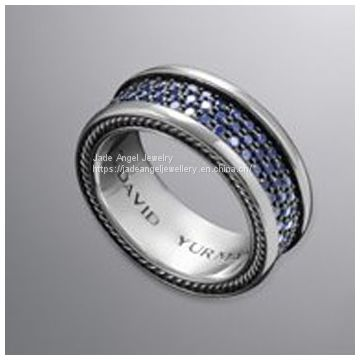Designs Inspired David Yurman Sterling Silver Pave Sapphire Diamond Band Ring