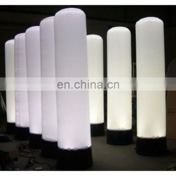 Inflatable totem with LED lights blower for advertising display, white column with light