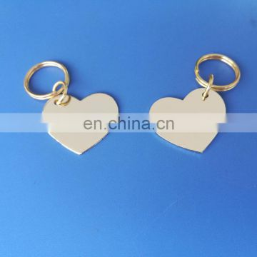 silver finish tone heart shape metal pendant tags with custom logo engraved