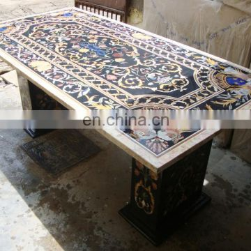 Manufacture Marble Inlay Dining Table Top, Pietra Dura Table Top