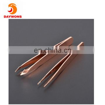 2 Pack Bundle Golden Slant and Pointed Rust Proof Stainless Steel Tweezer Eyebrow Shaping and Plucking Tweezers