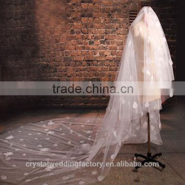 2015 wholesale vintage style white ivory long petals cathedral wedding veils accessories 3 meters long and 1.5 meters width LV05