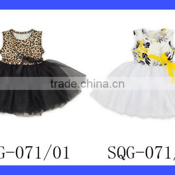 Leopard prints black tulle sleeveless summer baby girls princess dresses