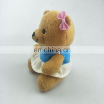 Lovely 15cm fat plush bear toys with dress for girl print logo for promotion