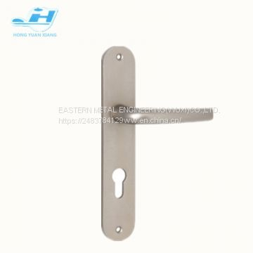 normal style round corner plate Aluminum door handle with cylinder hole Mortise door lever handle hot sales door lock handle