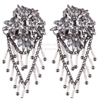 2019 Best Seller Newest Design Crystal Earrings with Beads Jewelry