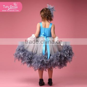 Luxury Feather Princess Flower Girls' Dresses for Beach Wedding Party Kids Gown