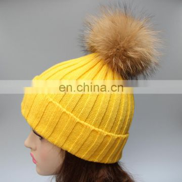 Fashion pattern winter warm fur pompon beanie hats for girl lady hot sale