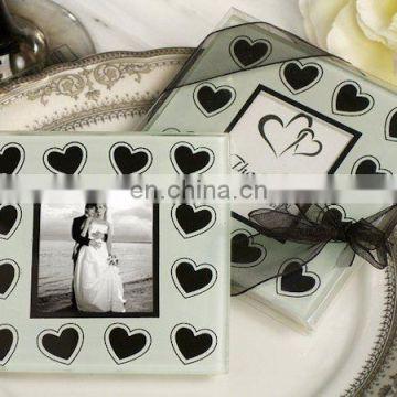 Black and White Hearts Glass Photo Coaster Favors